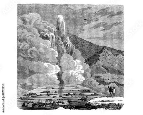 Großer Geysir auf Island (Alte Lithographie)