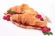 isolated croissant with berries