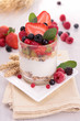 yogurt with muesli and berries