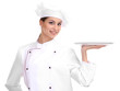Portrait of young woman chef with tray isolated on white