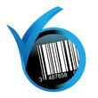 code barre sur bouton validé bleu