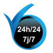 24 heures sur 24 7 sur 7 sur bouton validé bleu