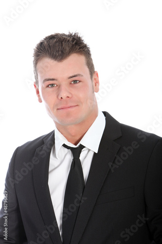 Caucasian smiling young man, wearing black suit