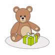 Teddy mit Geschenk