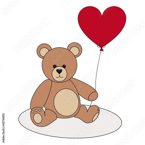 Teddy mit rotem Herzluftballon