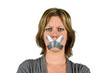 Mouth taped woman