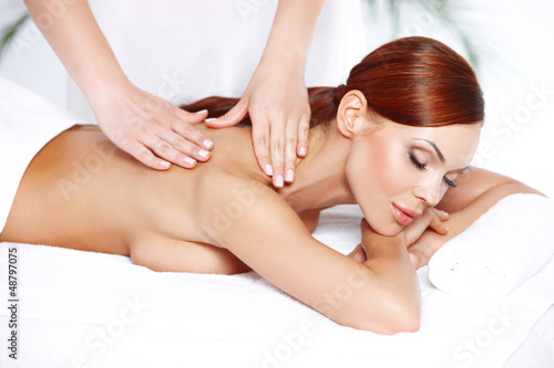 Beautiful woman enjoying a massage