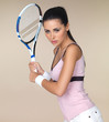 Attractive woman playing tennis