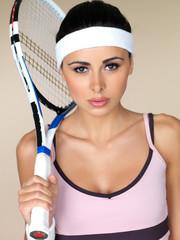 Beautiful female tennis player