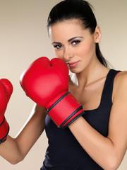 Attractive female boxer