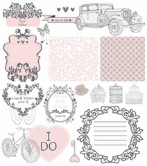 Wedding invitation collection of vintage elements
