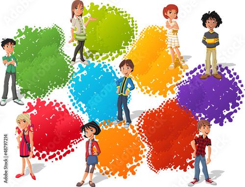 Colorful template with cool cartoon young   people. Teenagers.