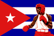 Amateur boxer in protective uniform posing over Cuba flag