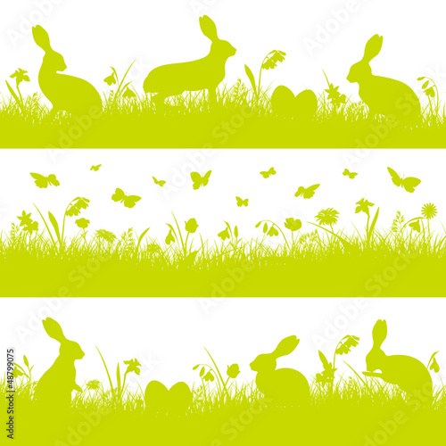 3 Green Easter Header Meadow Bunny