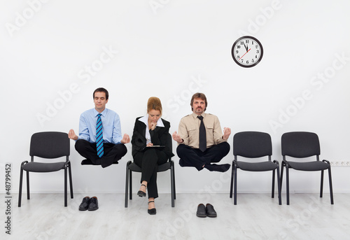 Feeling a slight handicap - people waiting for the job interview