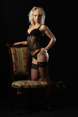 blonde girl in lingerie with stockings