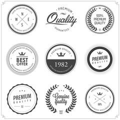 Set of vintage monochrome retail labels and badges