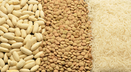 various legumes: lentils, rice and beans