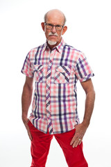 Casual dressed senior man with glasses. Isolated.