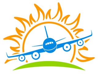 Flugzeug und Sonne - Firmenzeichen, Logo