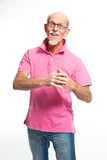 Funny expressive senior man with glasses. Isolated.