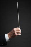 Conductor conducting an orchestra isolated. poster