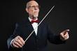 Senior conductor wearing suit. Studio shot.