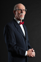 Senior man wearing suit and red tie. Studio shot.
