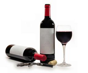 Botellas de vino tinto.