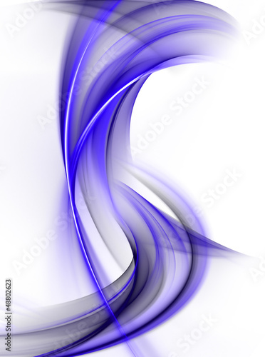 Abstract bright blue waves on white background