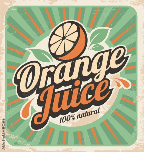 Orange juice retro poster - 48802686