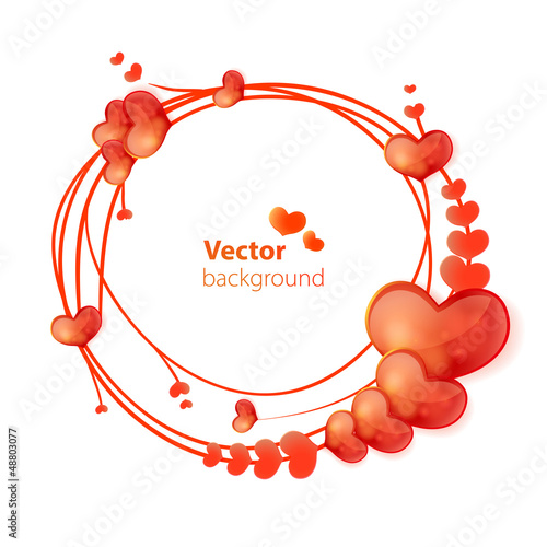 Abstract vector round frame with hearts.