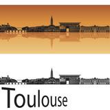 Fototapety Toulouse skyline in orange background