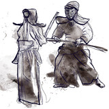 Budo, Japanese martial art and philosophy - drawing into vector poster