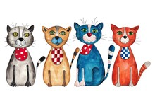 Cats. Aquarelle sur papier