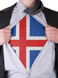 Business man with Icelandic flag t-shirt