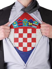 Business man with Croatian flag t-shirt