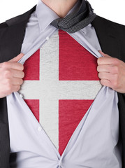 Business man with Danish flag t-shirt