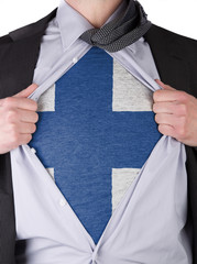 Business man with Finnish flag t-shirt
