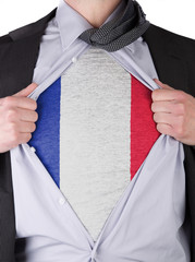 Business man with French flag t-shirt