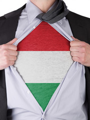 Business man with Hungarian flag t-shirt