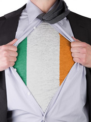 Business man with Irish flag t-shirt