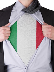 Business man with Italian flag t-shirt