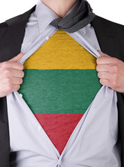 Business man with Lithuanian flag t-shirt