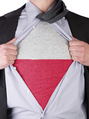 Business man with Polish flag t-shirt