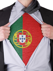 Business man with Portuguese flag t-shirt