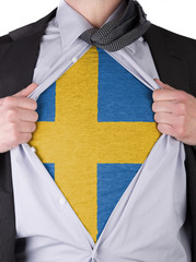 Business man with Swedish flag t-shirt