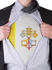 Business man with Vatican City flag t-shirt
