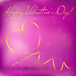 Valentines day greeting card with abstract heart from ribbon