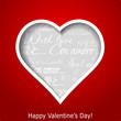 Abstract heart cutted from red paper background. Valentines day